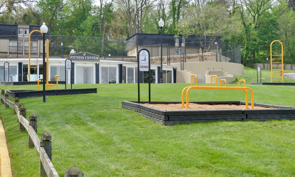 Outdoor fitness area at The Colony at Towson Apartments & Townhomes in Towson, Maryland