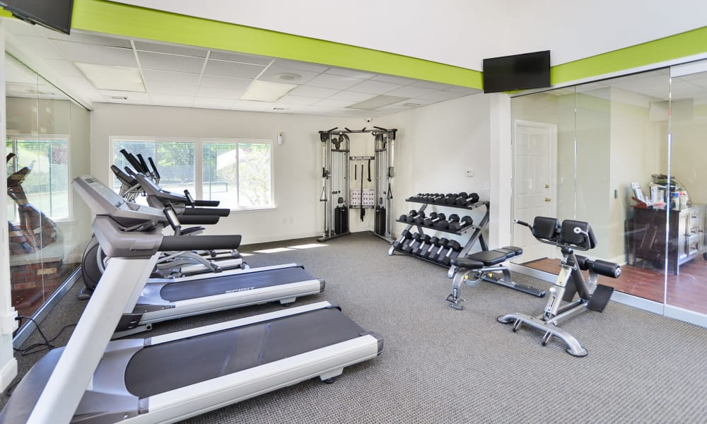 Enjoy apartments with a fitness center at Cranbury Crossing Apartment Homes
