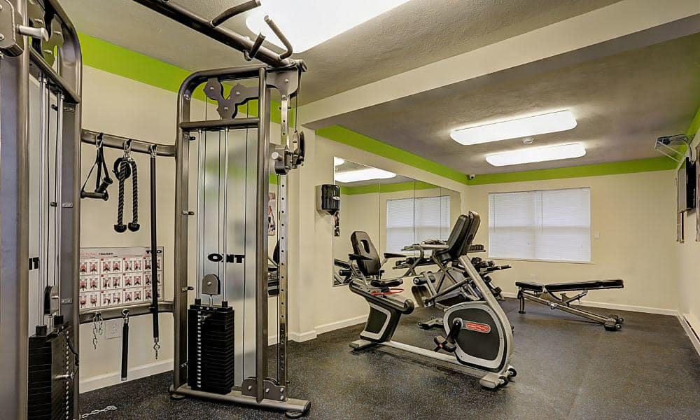 Fitness center at apartments in Eatontown, New Jersey