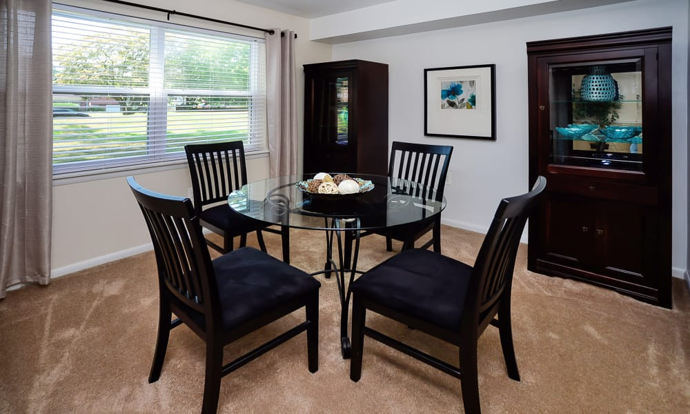 Dining room at apartments in Eastampton, New Jersey