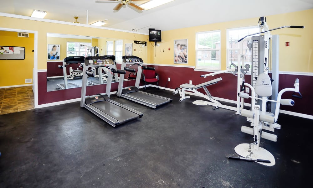 Modern fitness center at apartments in Maple Shade, New Jersey