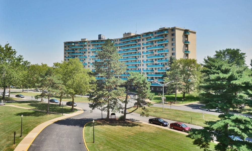 Wonderful view of Towers of Windsor Park Apartment Homes and its surroundings in Cherry Hill, NJ