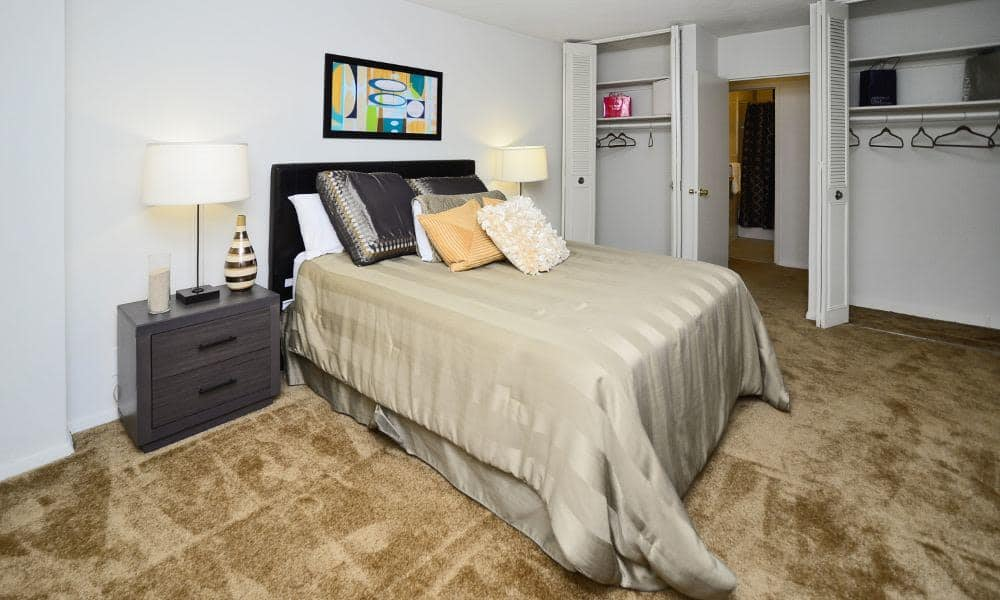 Well decorated bedroom at Towers of Windsor Park Apartment Homes in Cherry Hill, NJ