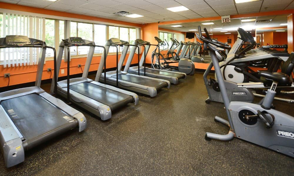 On-site fitness center available at Towers of Windsor Park Apartment Homes in Cherry Hill, NJ