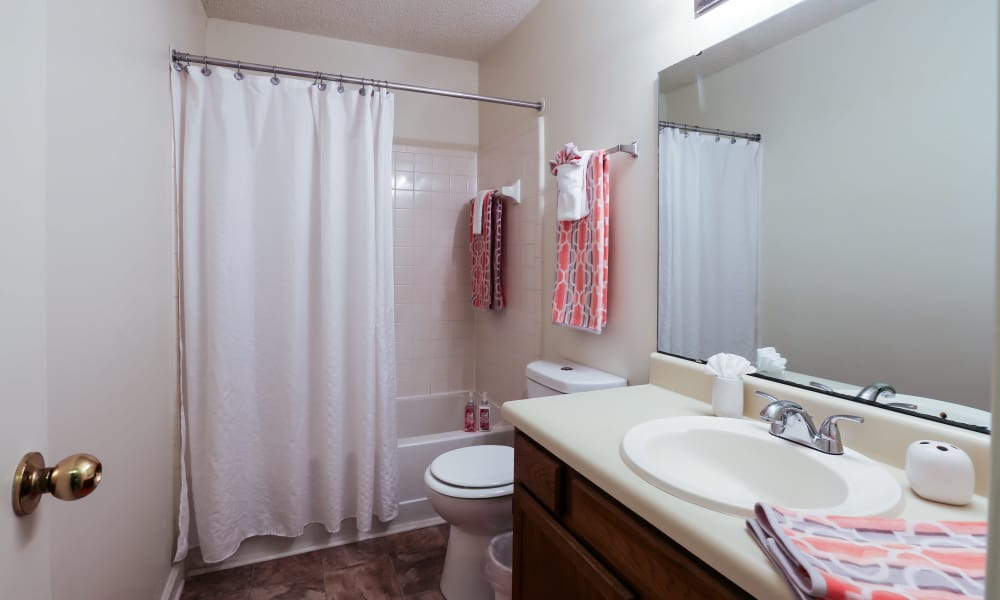Beautiful bathroom at Riverwind Apartment Homes in Spartanburg, South Carolina