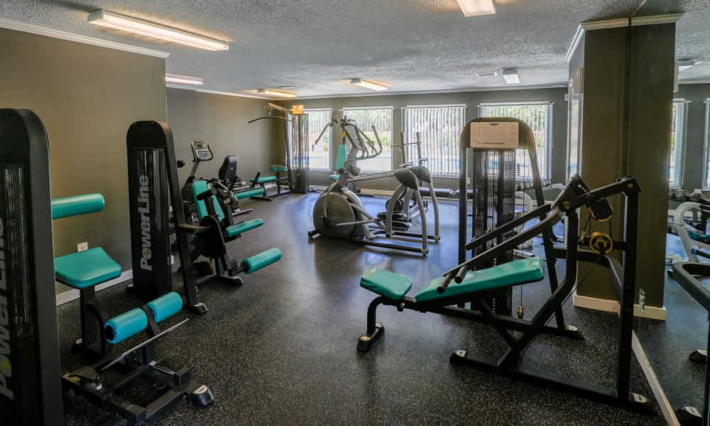 Modern fitness center at apartments in Spartanburg, South Carolina