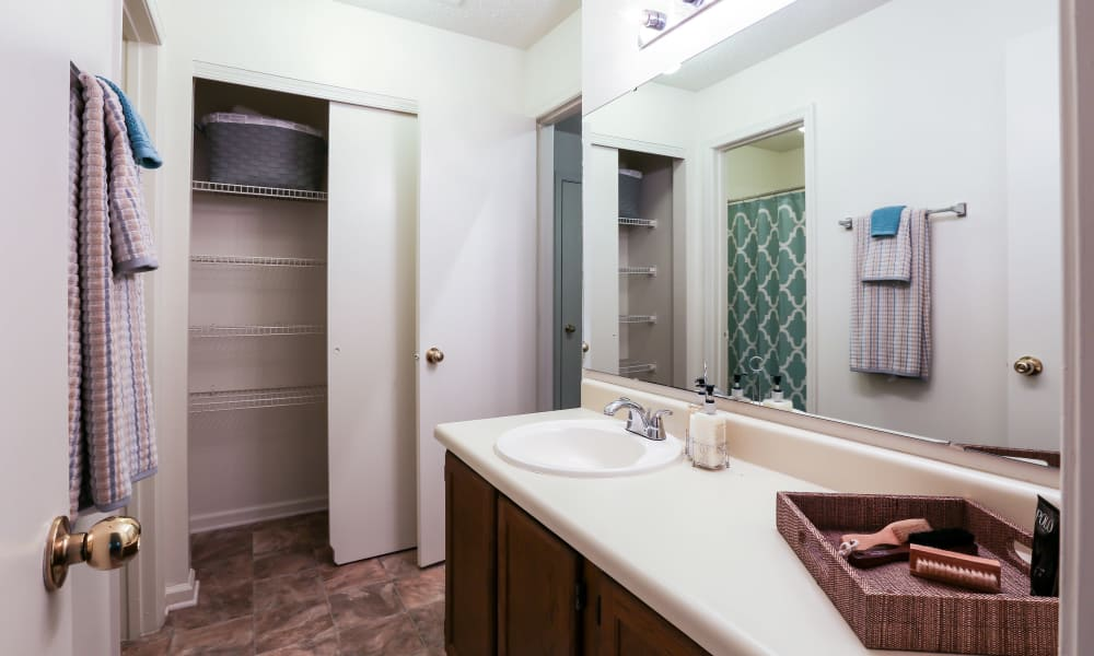 Modern bathroom at Riverwind Apartment Homes in Spartanburg, South Carolina
