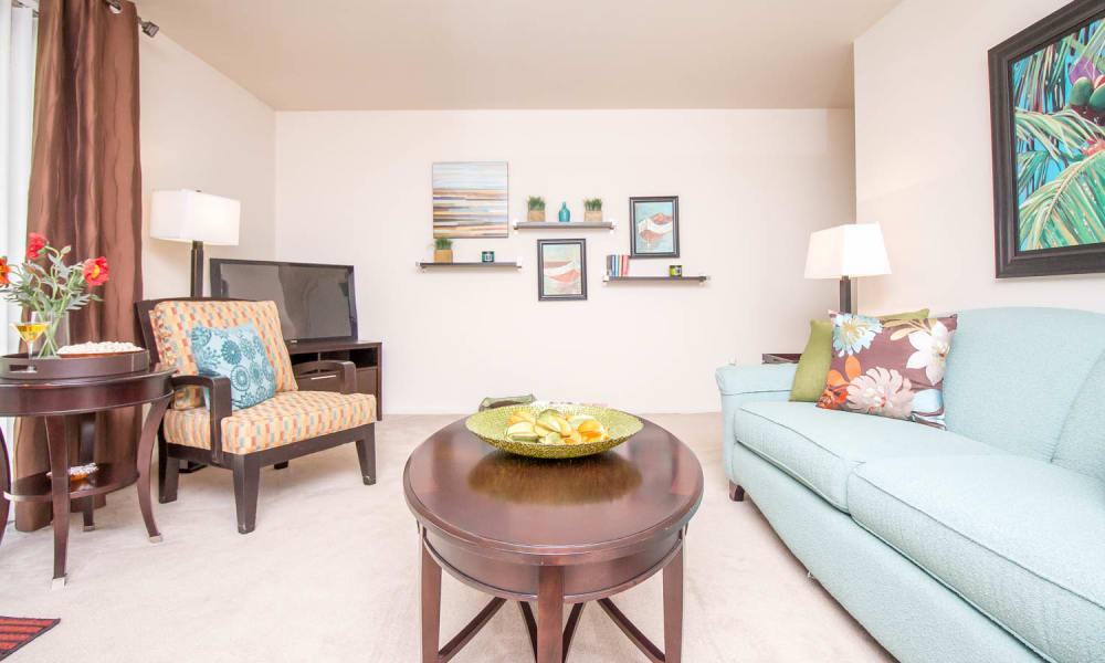 Monarch Crossing Apartment Homes offers a luxury living room in Newport News, Virginia