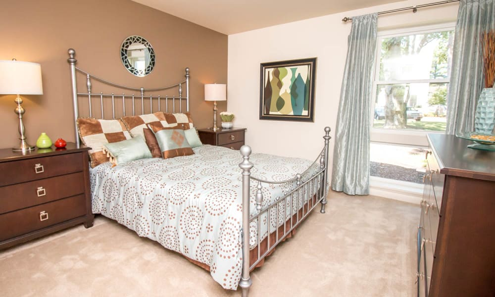 Luxury bedroom at apartments in Newport News, Virginia