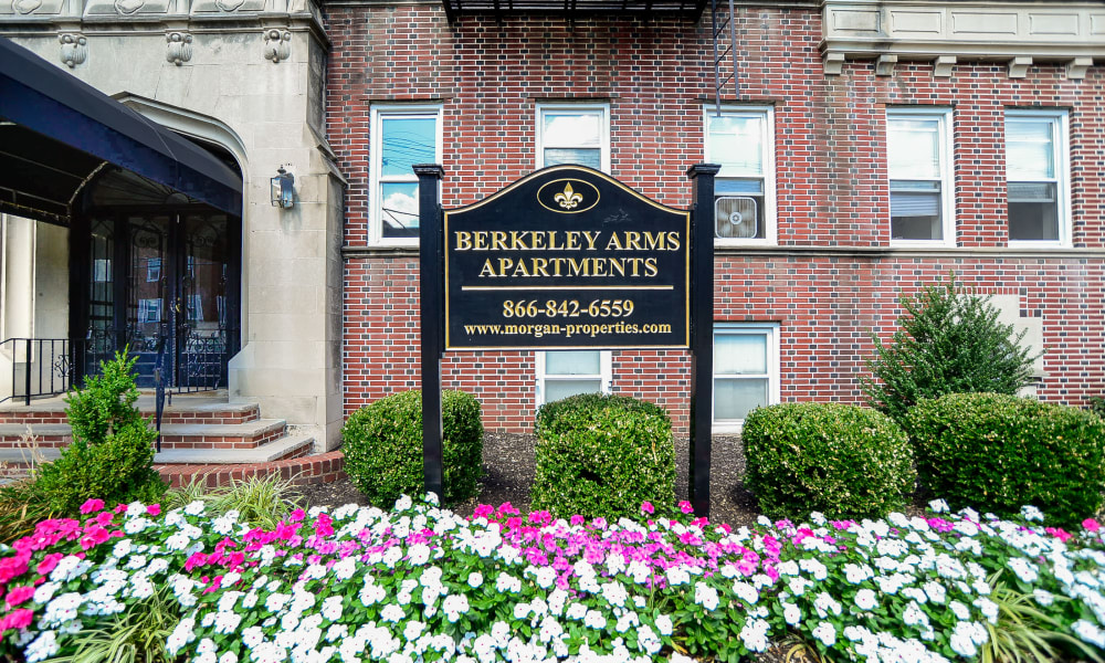 Welcome sign at Berkeley Arms Apartment Homes in Rutherford, New Jersey