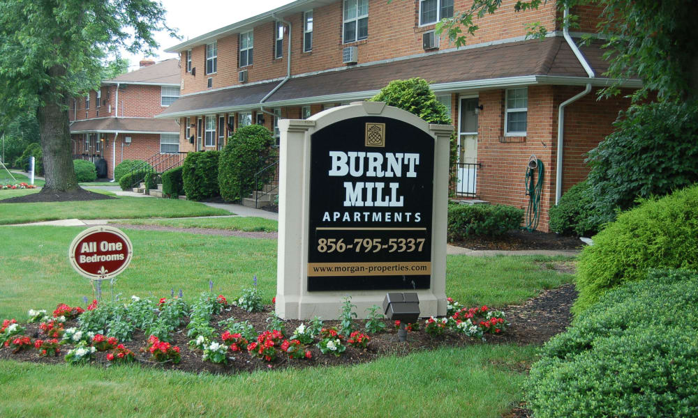 Welcome sign at Burnt Mill Apartment Homes in Voorhees, New Jersey