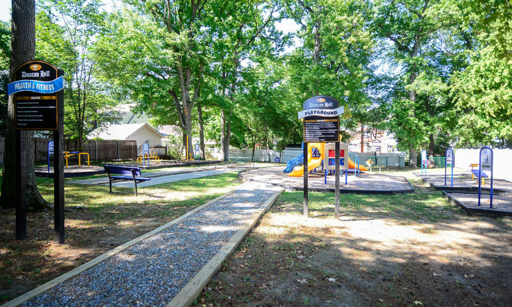 Walking paths at Duncan Hill Apartments & Townhomes in Westfield, New Jersey