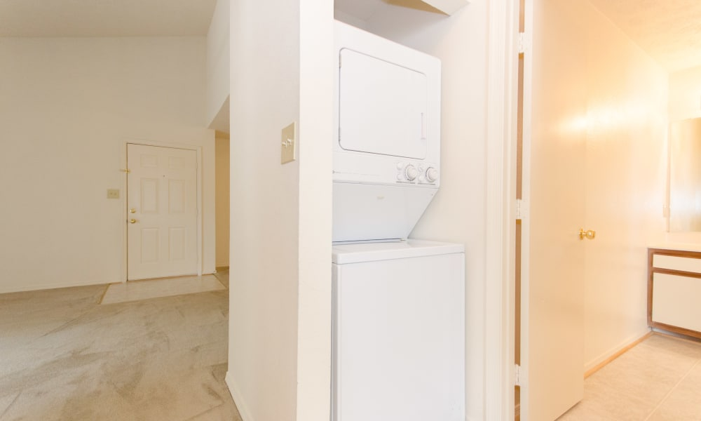 In unit washer and dryer available at The Pointe at Stafford Apartment Homes in Stafford, VA