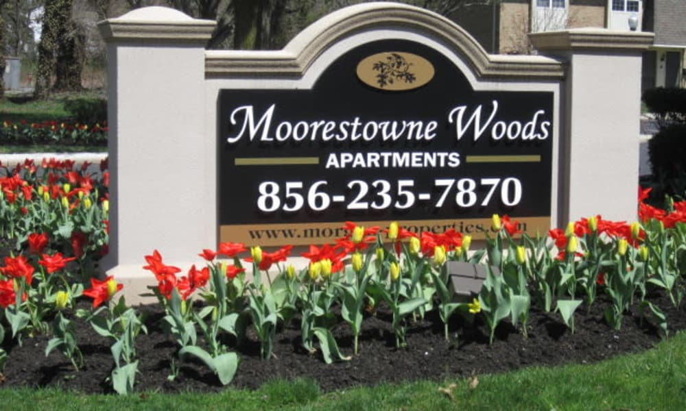 Entrance signage at Moorestowne Woods Apartment Homes in Moorestown, NJ