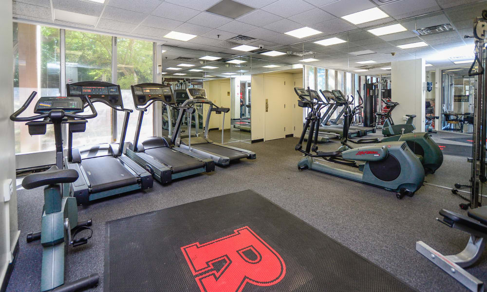 Modern fitness center at apartments in New Brunswick, New Jersey