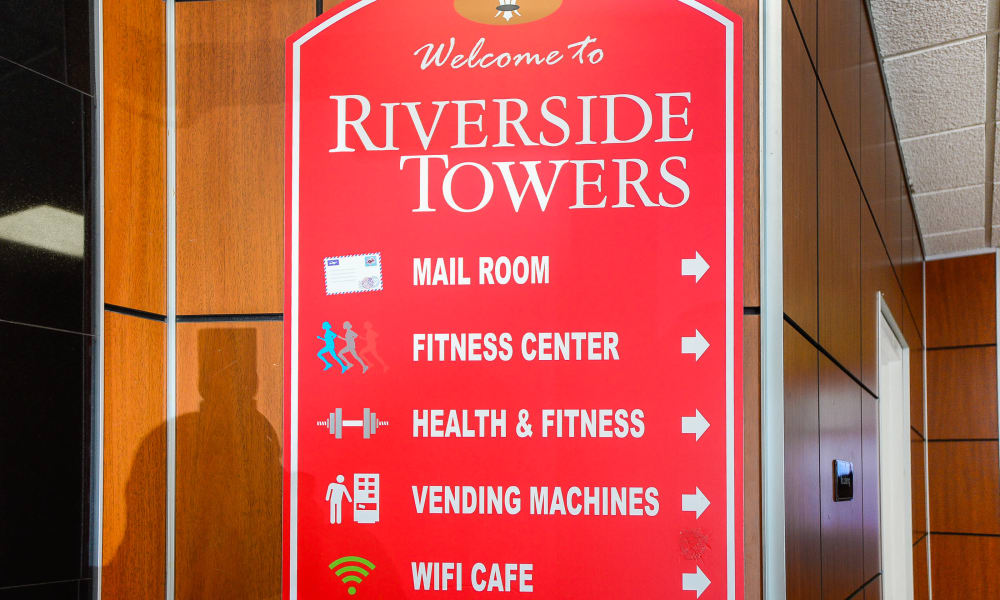 Welcome sign at Riverside Towers Apartment Homes in New Brunswick, New Jersey
