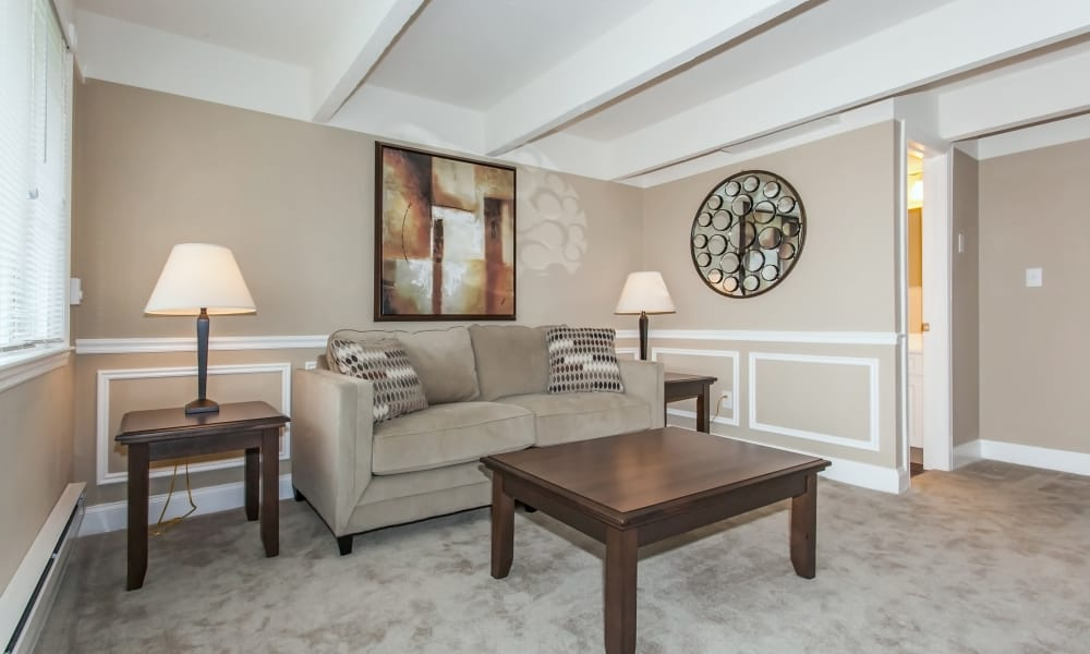 Spacious living room at Mariners Cove Apartment Homes in Toms River, NJ provides you with many decor options