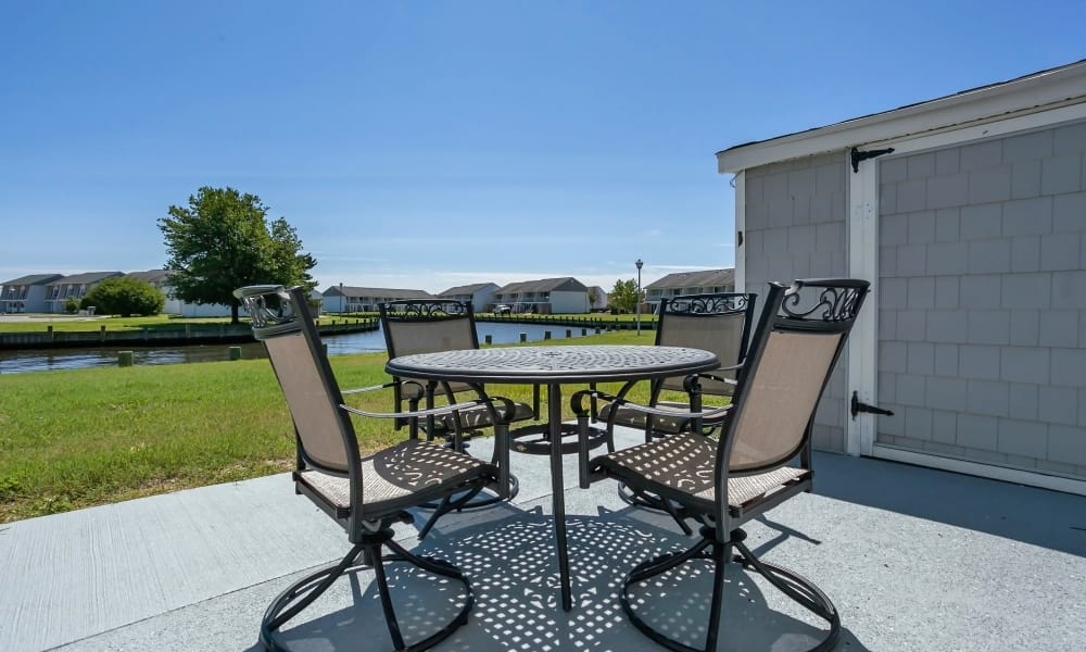 Patio view at Mariners Cove Apartment Homes in Toms River, NJ