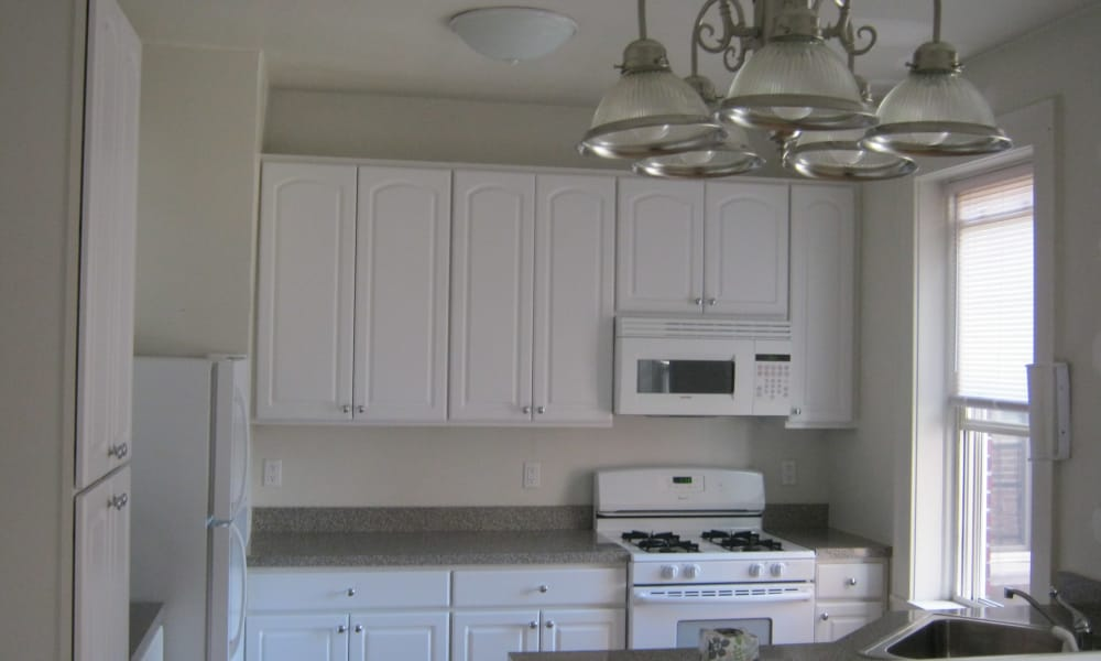 White kitchen at South Street Apartment Homes in Morristown