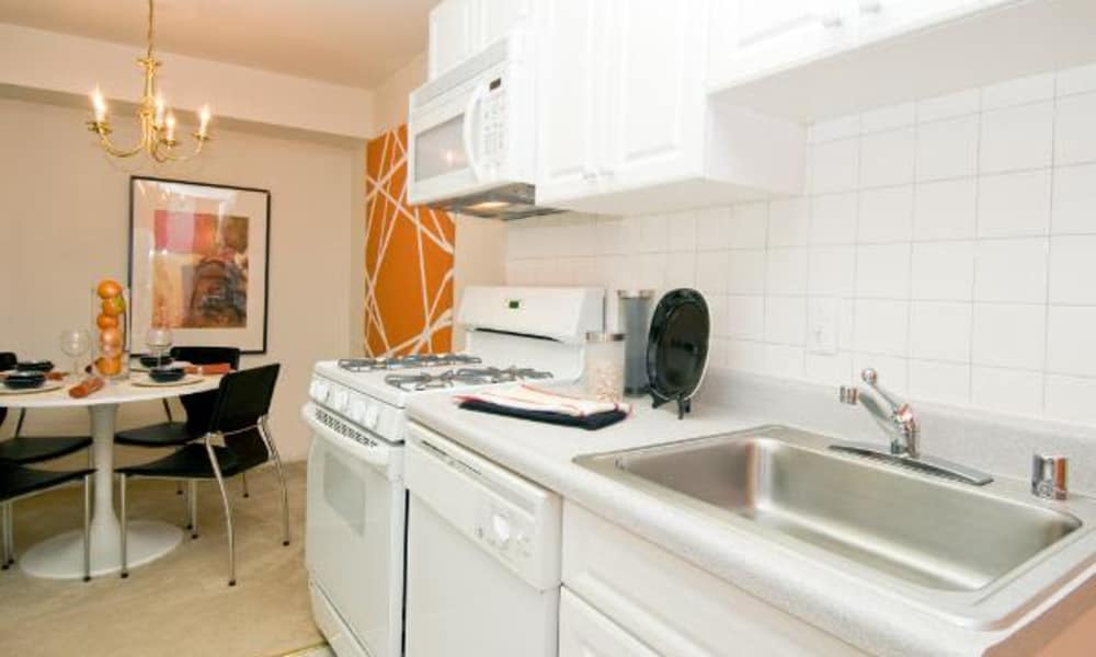 Beautiful model kitchen at Brookdale at Mark Center Apartment Homes