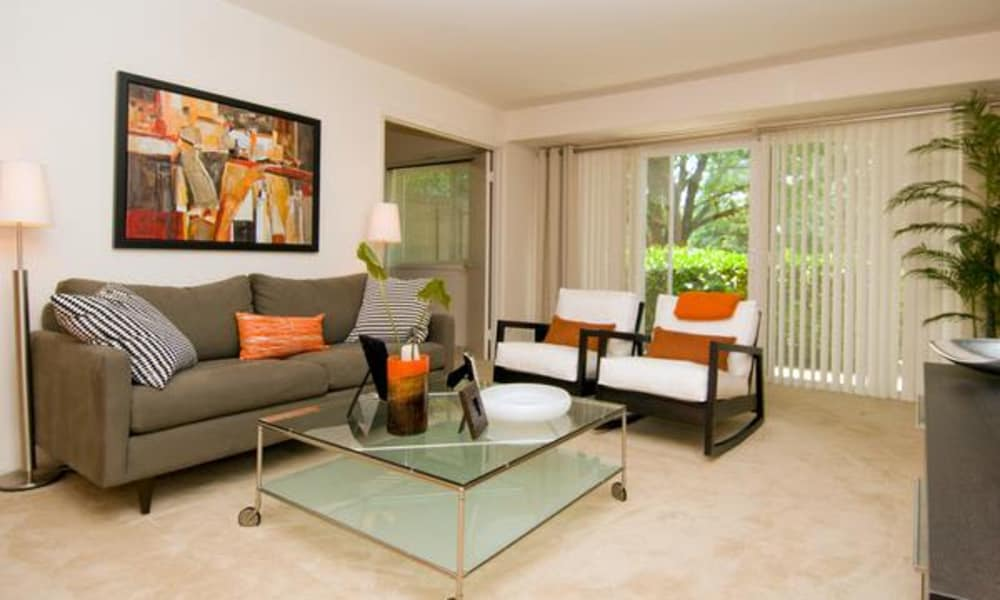 Model living room at Brookdale at Mark Center Apartment Homes