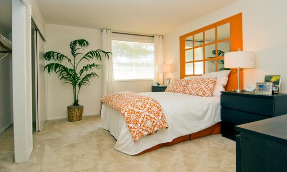 Model bedroom at Brookdale at Mark Center Apartment Homes
