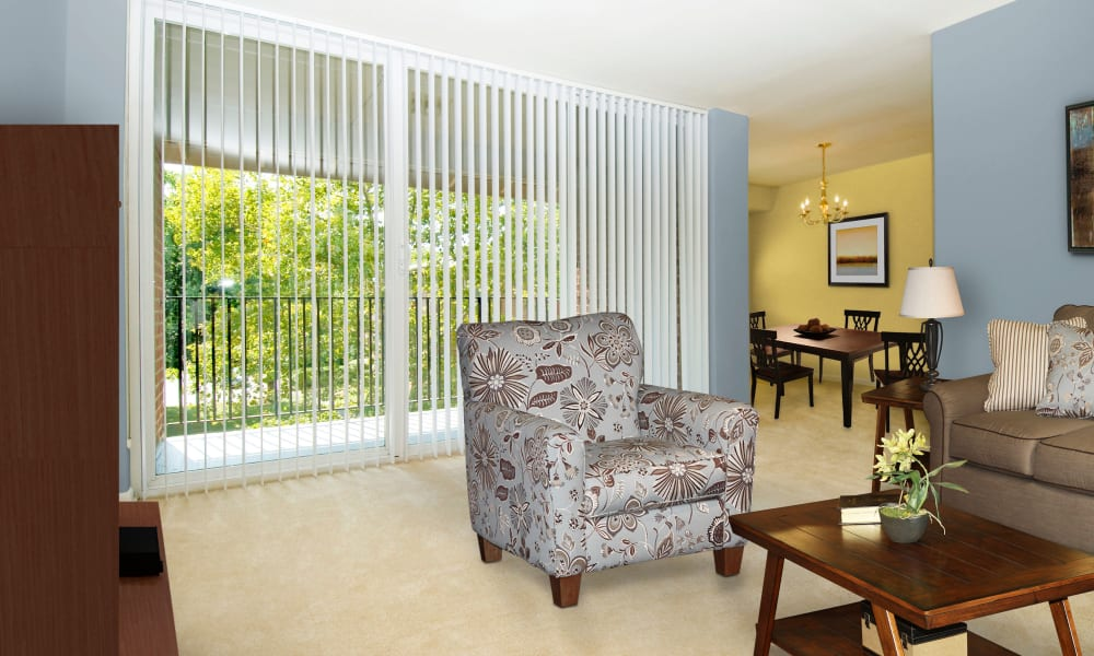 Naturally well-lit living room at Willow Run at Mark Center Apartment Homes in Alexandria, VA