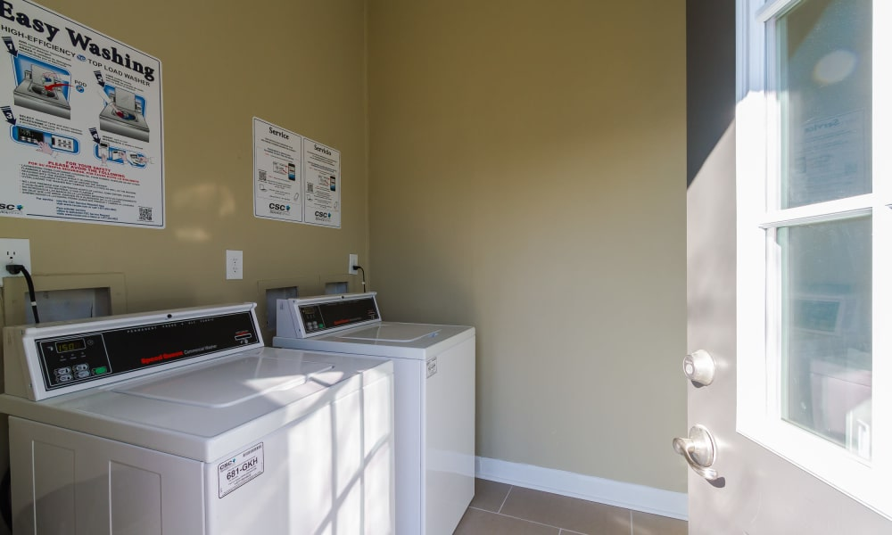 Washer and dryer at Dwell on Riverside apartments in Macon, GA
