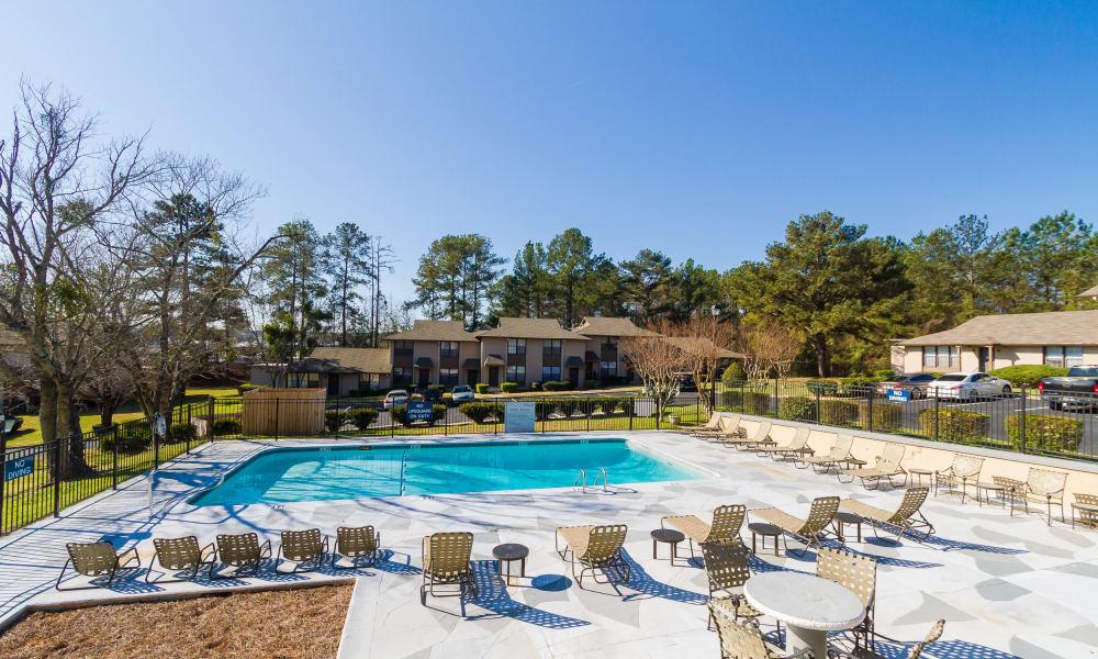 Sparkling swimming pool at Dwell on Riverside in Macon, GA