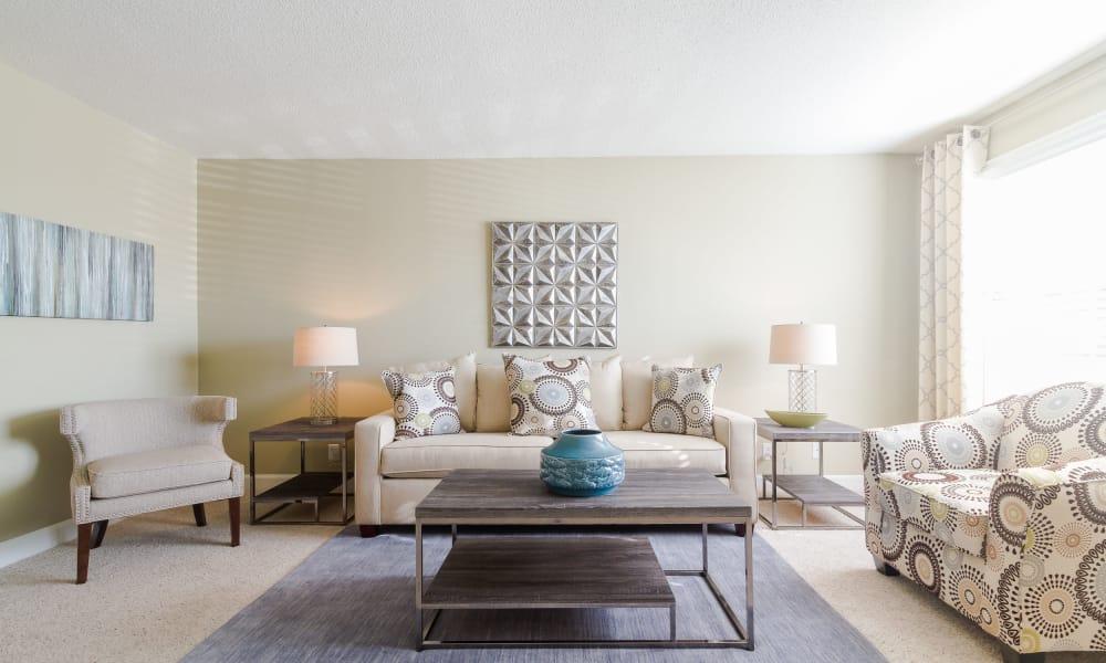 Luxury living room at Dwell on Riverside in Macon, GA