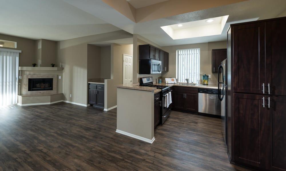 Modern kitchen at Seapointe Villas in Costa Mesa, CA