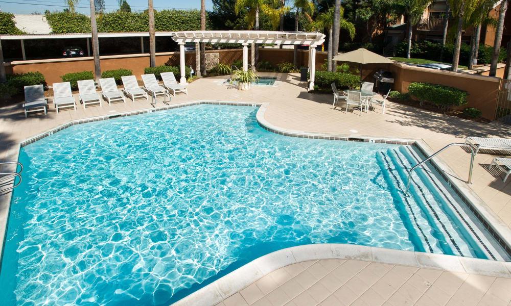 Sparkling swimming pool at Seapointe Villas in Costa Mesa, CA