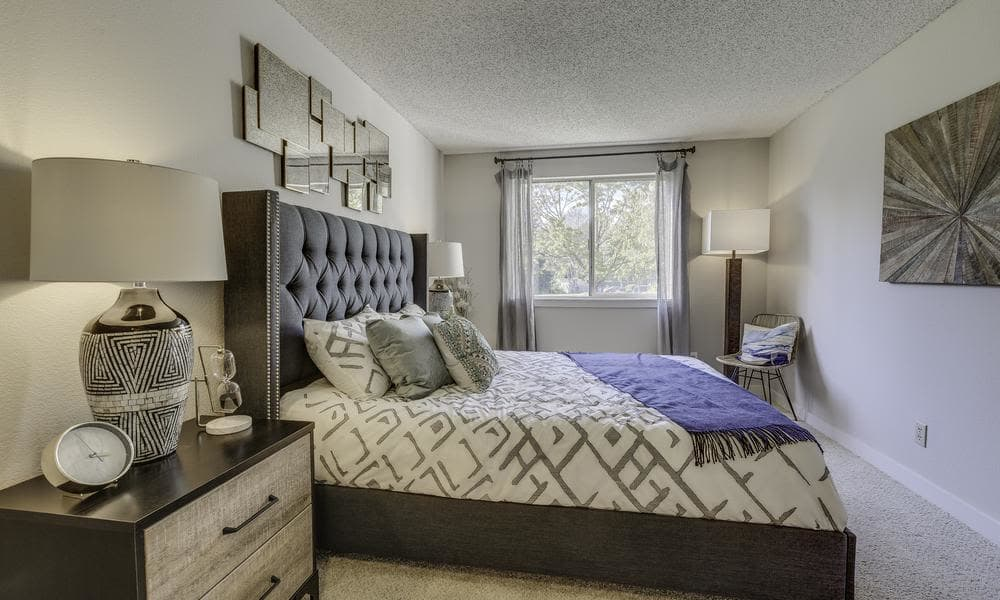 Model bedroom at Alaire Apartments