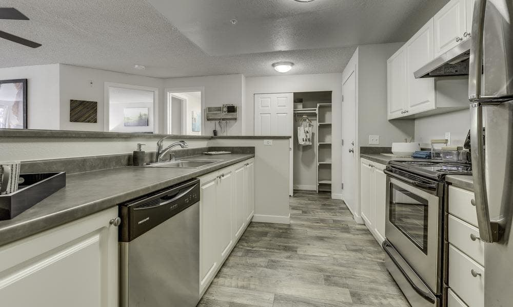 Model kitchen room at Alaire Apartments in Renton