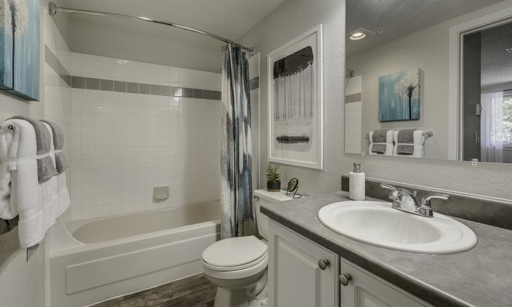 Model bathroom room at Alaire Apartments in Renton