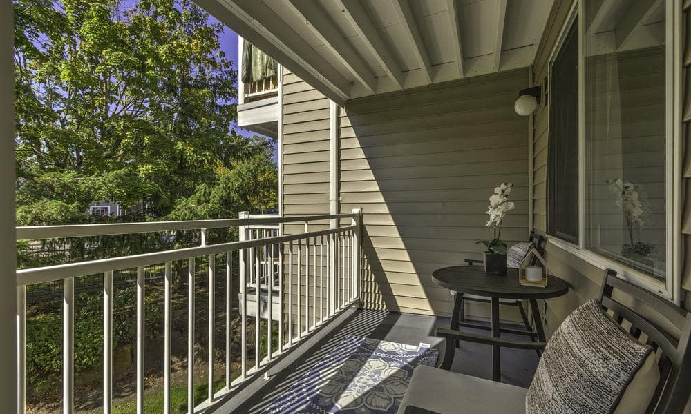 Model balcony at Alaire Apartments in Renton