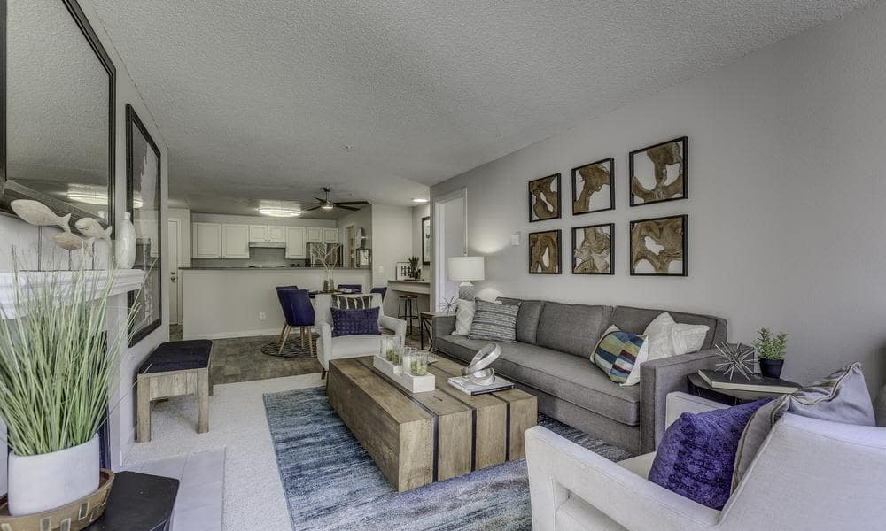 Model living room at Alaire Apartments, in Renton