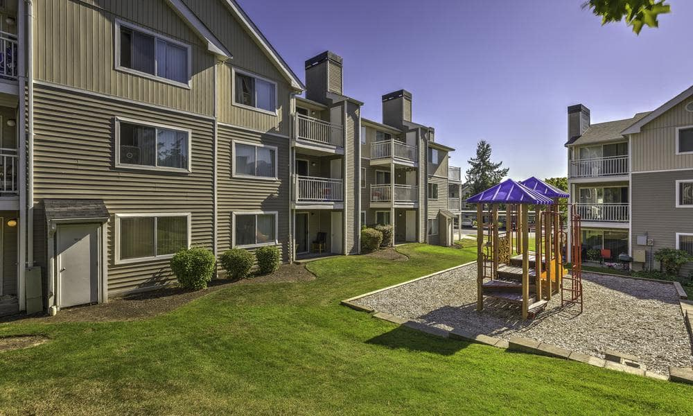 Outside apartments at Alaire Apartments in Renton