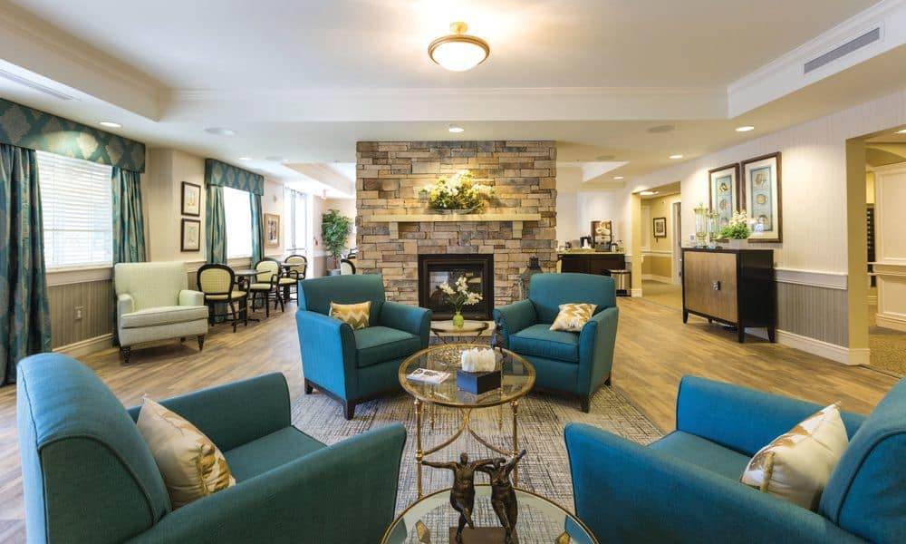 Spacious waiting room at The Enclave at Anthem Senior Living
