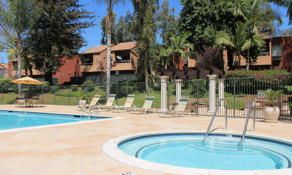 A swimming pool that is great for entertaining at apartments in West Covina, California