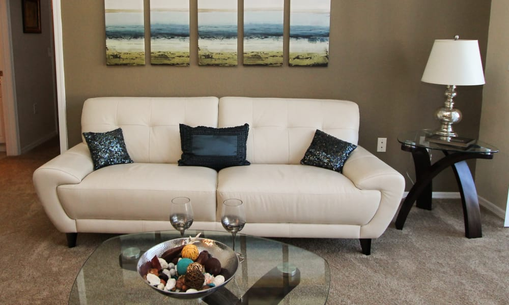 Living room with accoutrements at Palms at Wyndtree