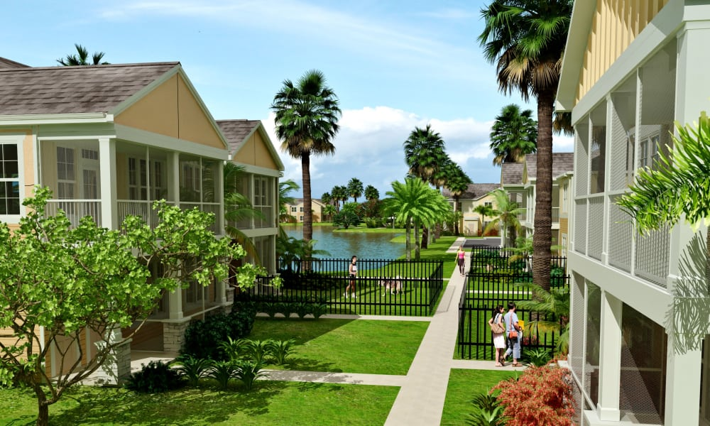Large courtyard at Springs at Port Charlotte in Port Charlotte