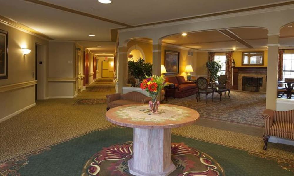 Our assisted living facility in Rochester Hills, MI offers a beautiful common room