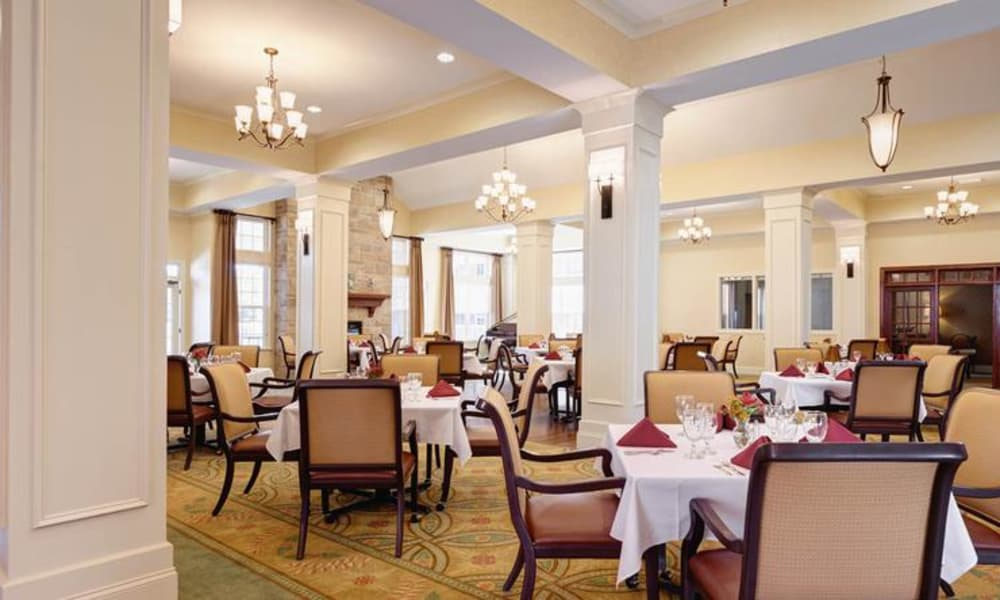 Fancy dining area at assisted living facility in Charlotte, NC