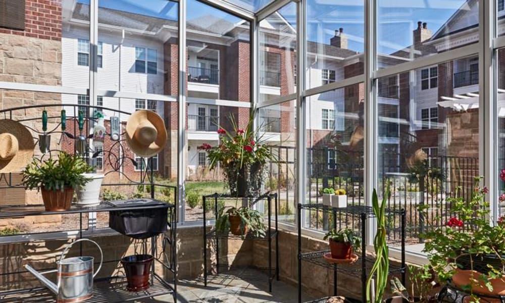 Indoor garden at Waltonwood Providence in Charlotte, NC