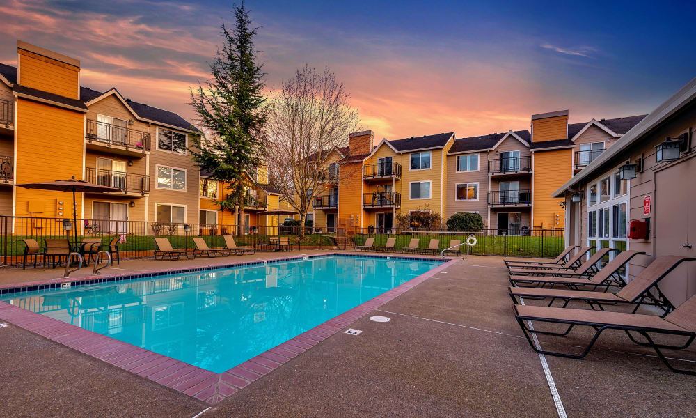 Enjoy a shimmering pool at Preserve at Sunnyside Apartments