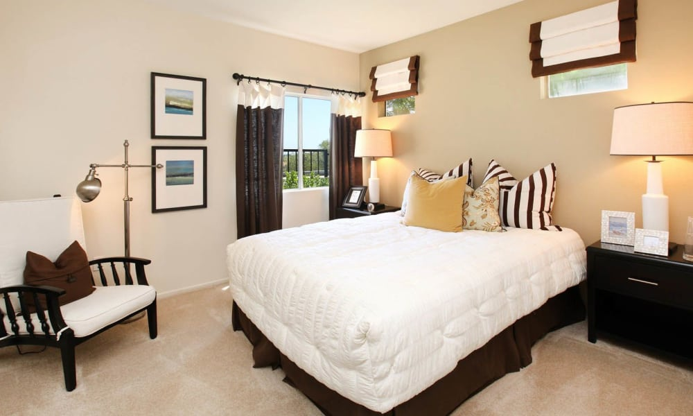 Master bedroom at apartments in Mission Viejo, California