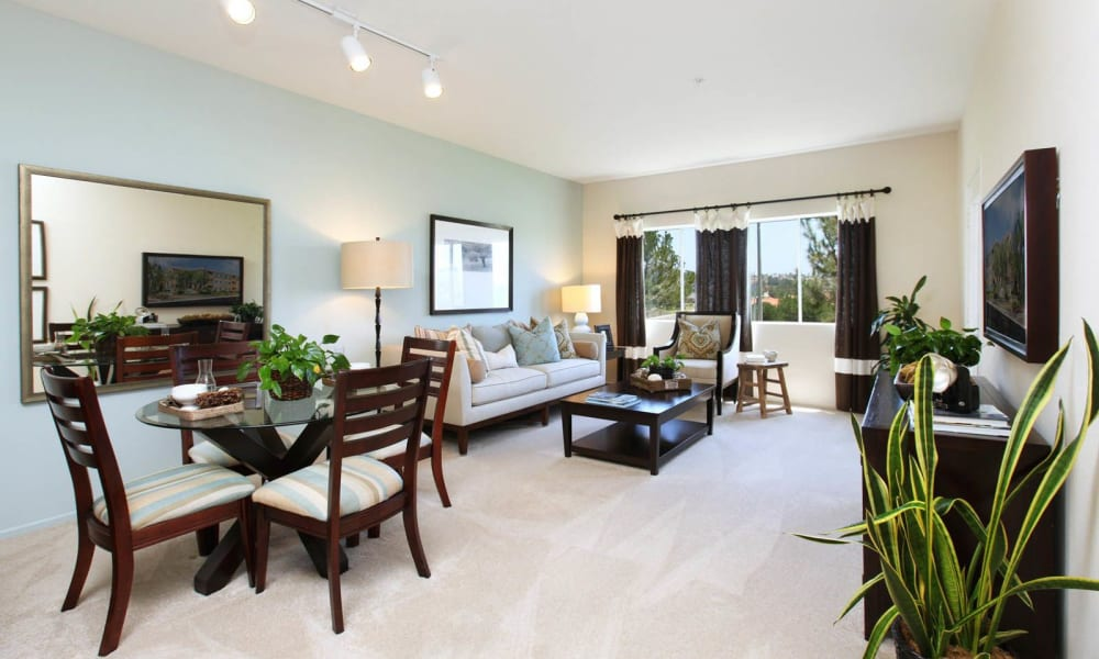 Spacious living room at apartments in Mission Viejo, California