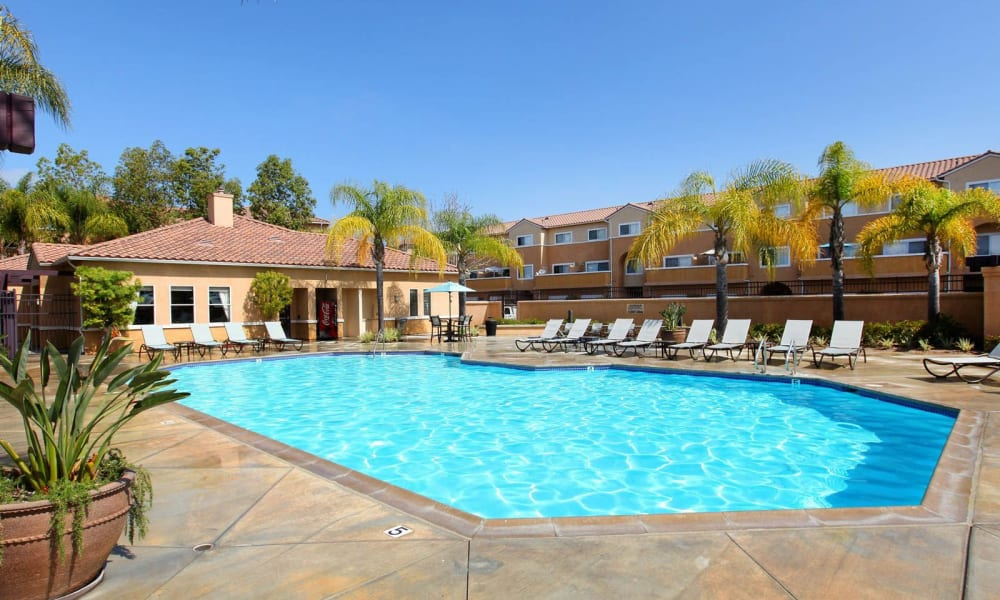Swimming pool at apartments in Mission Viejo, California