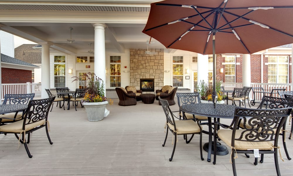 Outdoor deck at Waltonwood Cary Parkway